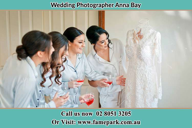 Photo of the Bride and the bridesmaids checking the wedding gown Anna Bay NSW 2316