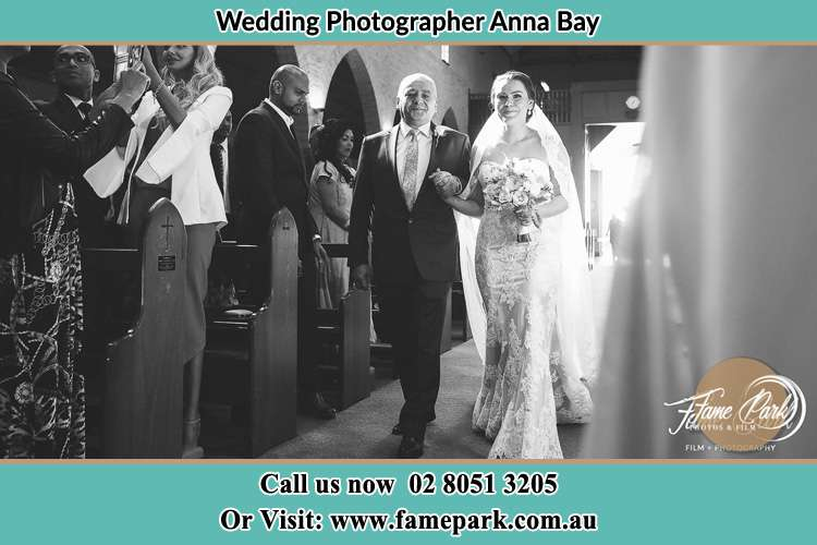 Photo of the Bride with her father walking the aisle Anna Bay NSW 2316
