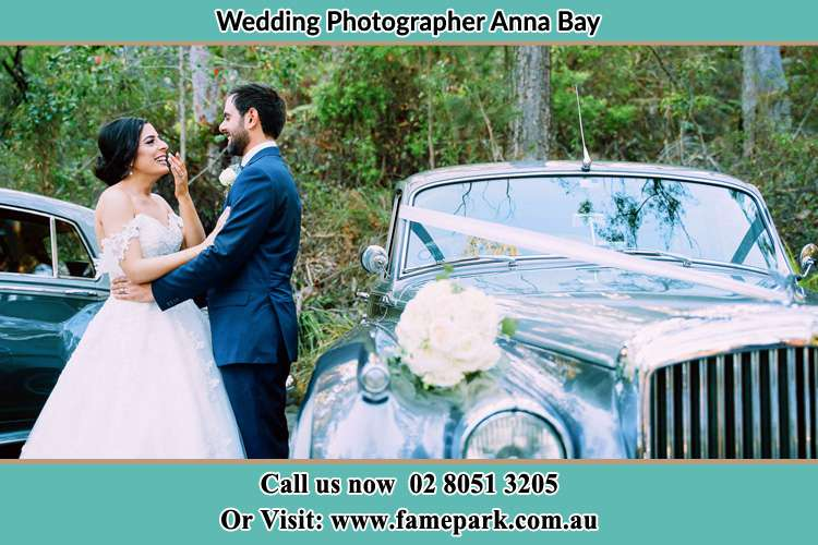 Photo of the Bride and the Groom near the bridal car Anna Bay NSW 2316