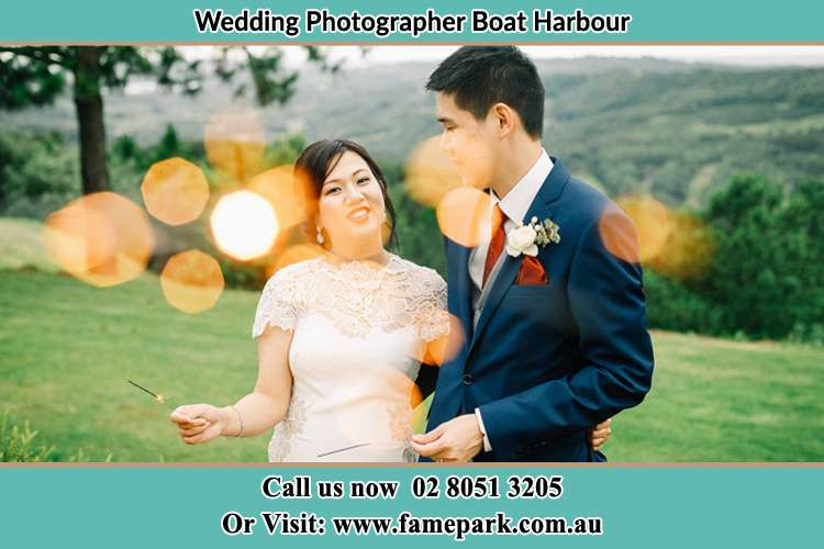 Photo of the Groom and the Bride at the yard Boat Harbour NSW 2316