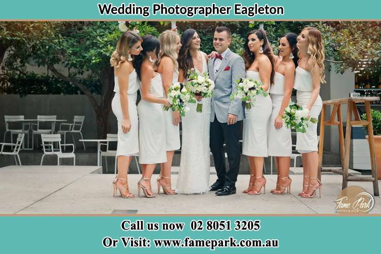 Photo of the Bride and the Groom with the bridesmaids Eagleton NSW 2324