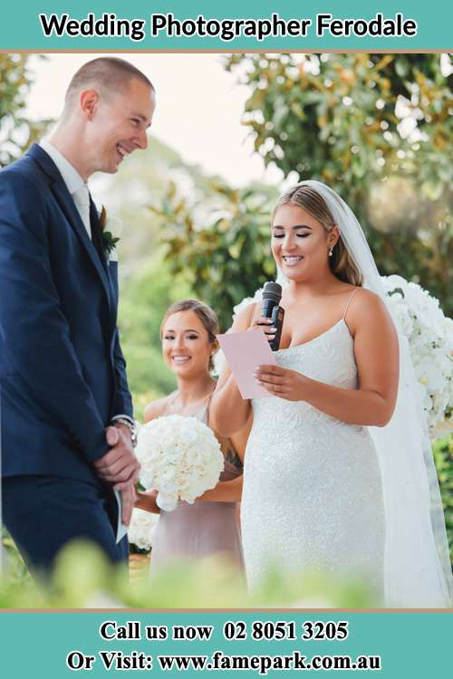 Photo of the Bride testifying love to the Groom Ferodale NSW 2318