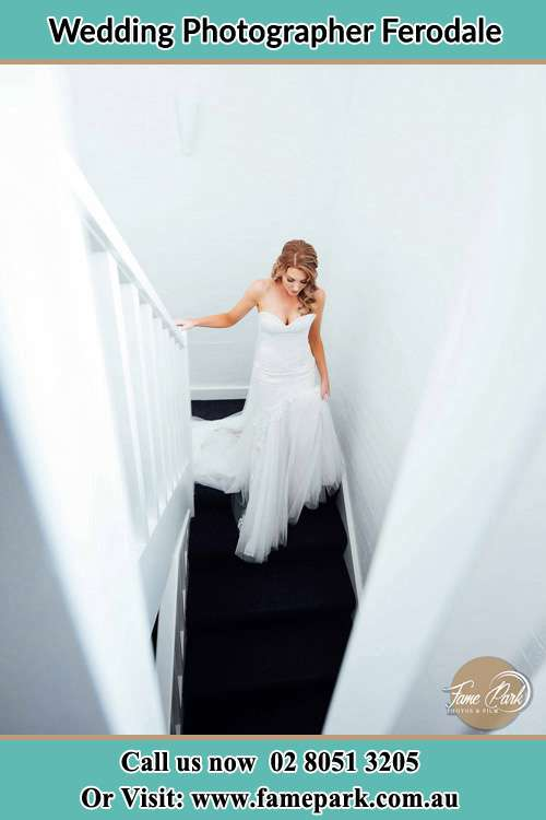 Photo of the Bride going down the stair Ferodale NSW 2318