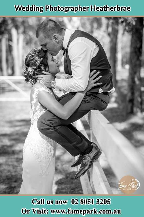 Photo of the Groom sitting on the fence while kissing the Bride on the forehead Heatherbrae NSW 2324