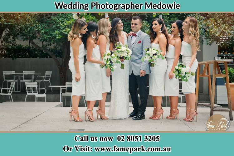 Photo of the Bride and the Groom with the bridesmaids Medowie NSW 2318