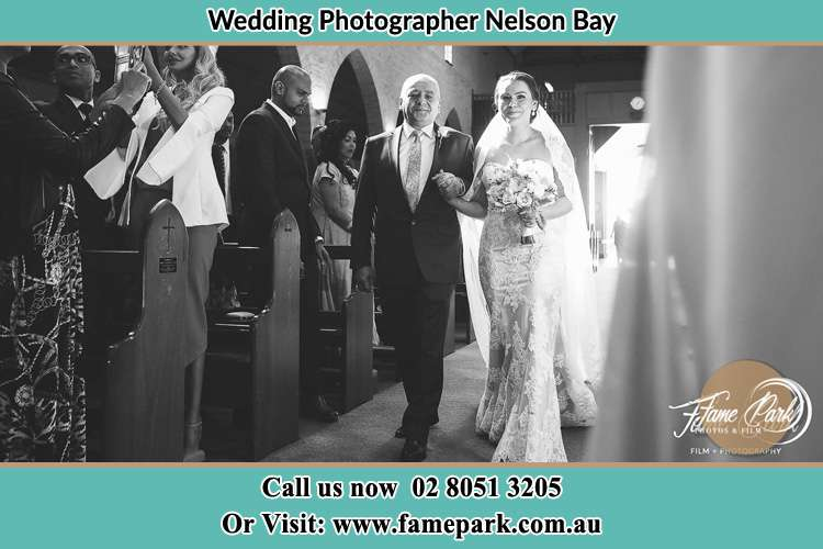 Photo of the Bride with her father walking the aisle Nelson Bay NSW 2315