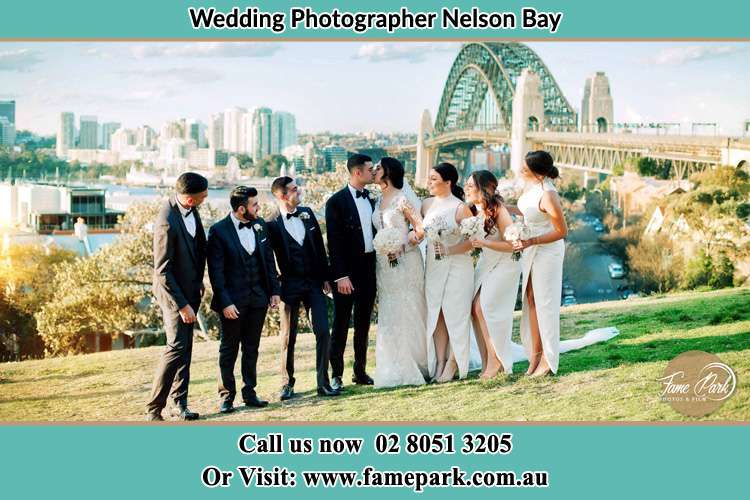 Photo of the Groom and the Bride with the entourage near the bridge Nelson Bay NSW 2315