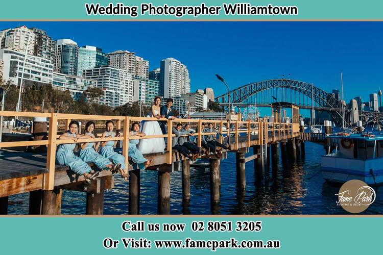 Photo of the Groom and the Bride with the entourage Williamtown NSW 2318